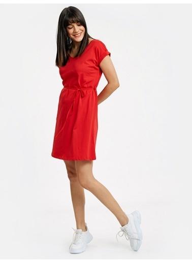 LC Waikiki Sırt Detaylı Pamuklu Elbise Kırmızı